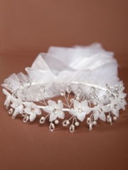 Jamie Pearl Floral Crown First Communion Veil