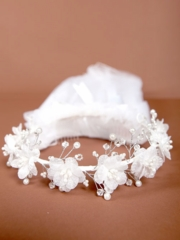 Mckenna Floral Beaded Crown First Communion Veil