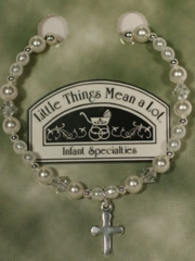 Pearl and Silver Bracelet w/ Cross for Christening