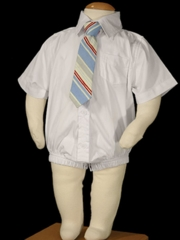 Short Sleeve Dress Shirt Bodysuit for Boy's Christening