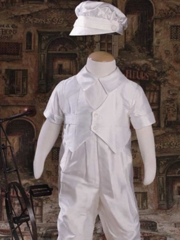 Silk Dupioni Vested Coverall Boys Christening Outfit