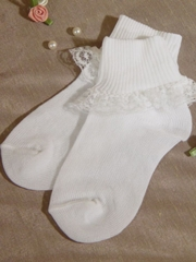 White Nylon Anklet Baby Girl's Socks with Lace