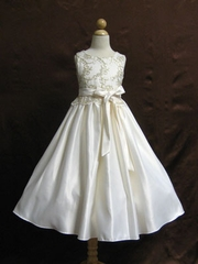 Golden Embroidery Satin Flower Girl Dress