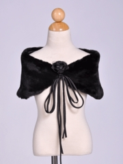 Princess Black Fur Shawl