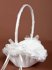 Elegant White Flower Girl Basket