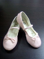 Leather yet ballet shoes for flower girl