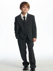 Daivd Black Stripes Boy's Suit