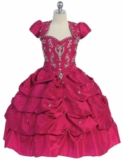 Fuchsia Fancy Pick Up Quinceanera Dress