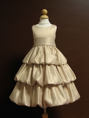 Satin Bubble Flower Girl Dress