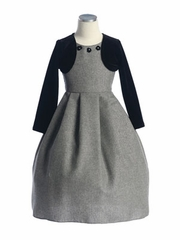 Tweed Sleeveless Dress w/ Velvet Bolero