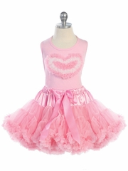 Pretty Pink Girl's Tutu Set with Heart-Shape Design