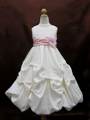 Taffeta Gathered Skirt Flower Girl Dress