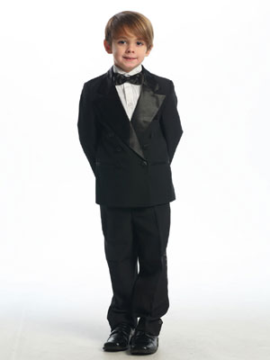 Black Double Breasted  Boy's Tuxedo without Tail