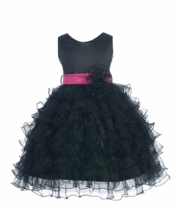 Bella Taffeta bodice Tiered Ruffle Skirt Organza Dress