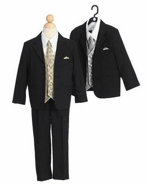 Boy Formal Suit with Gold Vest