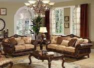 Remington Bonded Leather & Fabric Sofa Set A-50155-SET