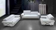 Linx Modern White Leather 3-Pc Sofa Set VG2T0660-Set3PC