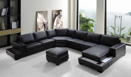 Ritz Modern Black Bonded Leather Sectional