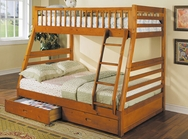 Honey Oak Finish Twin/Full Bunk Bed w/ Drawer A-02018-BB