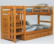 Twin/Twin Pine Stairway Bunk Bed C-STH100-BB