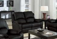 Caray Black Bonded Leather Reclining Loveseat A-50045-L