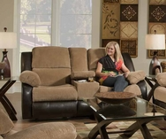 Lancaster Walnut/Tan Reclining Loveseat P-50902L
