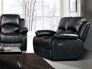 Vista Black PU Finish Reclining Loveseat A-50000-L