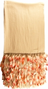Anna Tzrebinski Pashmina Wrap - Winter White with Flamingo Feather Trim