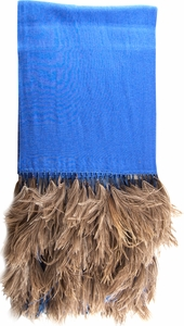 Anna Tzrebinski Pashmina Scarf - Blue with Ostrich Feather Trim