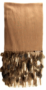 Anna Tzrebinski Pashmina Scarf- Taupe with Guinea Fowl Feather Trim