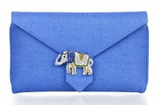 Wilbur & Gussie Charlie Clutch - Blue with Elephant