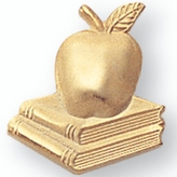APPLE ON BOOKS PIN GOLD PLATE