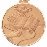 1-1/2 INCH LAMP AND BOOKS WITH SCROLL MEDAL - MULTIPLE COLORS
