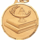 1-1/2 INCH LAMP AND BOOKS MEDAL - MULTIPLE COLORS