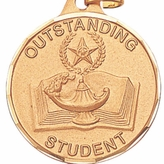 1 1/4 INCH OUTSTANDING STUDENT MEDAL, GOLD
