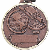 1 1/4 INCH GLOBE WITH LAMP AND BOOKS FOR IMPRINT, BRONZE