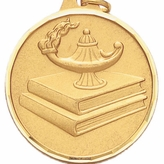 1-1/2 INCH LAMP OF LEARNING, DIAMOND CUT BORDER MEDAL - MULTIPLE COLORS