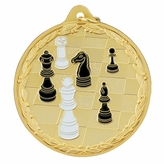 2-1/2 INCH MEDAL, CHESSBOARD AND FIGURES - MULTIPLE COLORS