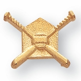 CROSSED BATS CHENILLE PIN GOLD
