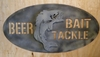 """Beer Bait and Tackle"" Sign with 3D Fish"