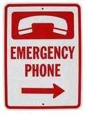"Heavy Duty Aluminum Emergency Phone Sign 12""x18"" (Arrow Right)"