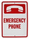 "Heavy Duty Aluminum Emergency Phone Sign 12""x18"" (No Arrow)"