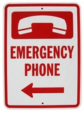 "Heavy Duty Aluminum Emergency Phone Sign 12""x18"" (Arrow Left)"