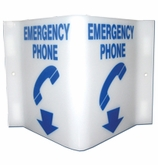 "Emergency Phone Sign  6""x12"" (Arrow Down)"
