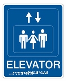 "6"" x 9"" Raised & Braille Elevator (Wall Sign)"