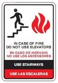 "10"" x 14"" In Case of Fire Do Not Use Elevators (Wall Sign)"