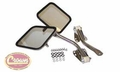 Complete mirror and arm kit, right & left side, stainless, fits 1955-86 Jeep CJ-5, CJ-6, CJ-7 & CJ-8 Scrambler