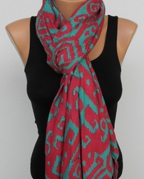 Sir Alistair Rai Tibetan Ikat Crimson Scarf Wrap