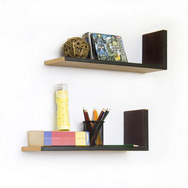 Trista - [Check Pattern] L-Shaped Leather Shelf / Bookshelf / Floating Shelf (Set of 2)
