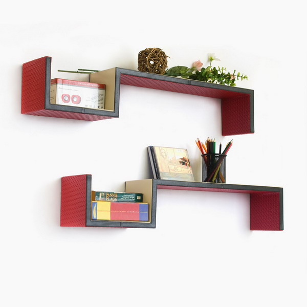 Trista - [Carmine Rose] S-Shaped Leather Wall Shelf / Bookshelf / Floating Shelf (Set of 2)